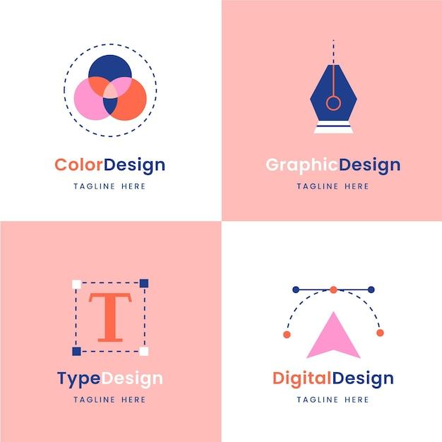 그래픽 디자이너 로고 컬렉션 프리미엄 벡터