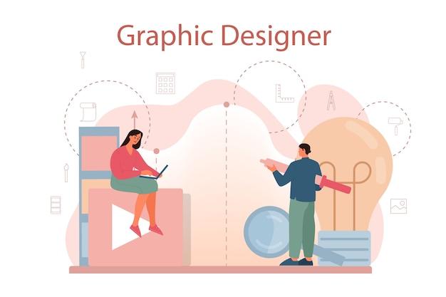 그래픽 디자이너 또는 디지털 일러스트 레이터 컨셉 프리미엄 벡터