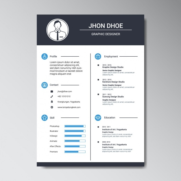graphic designer resume template free vector