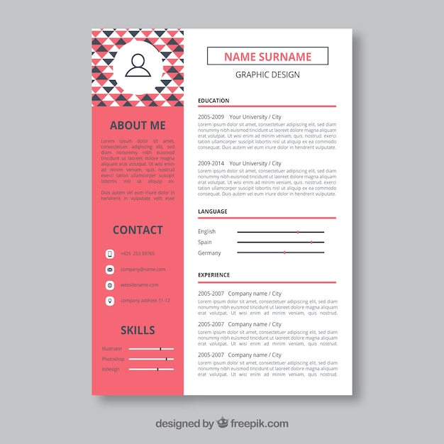 graphic designer resume template vector