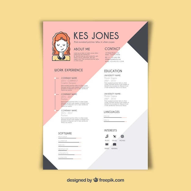 graphic designer resume template free vector - Resume With Picture Template