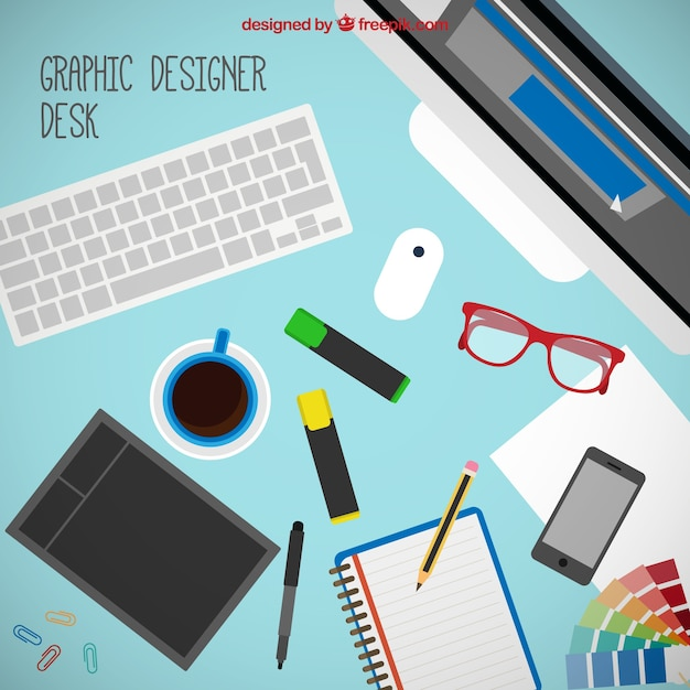 Graphic Designer Tools On The Desk Vector Free Download