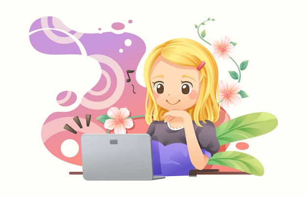Graphic designer woman working with notebook Premium Vector