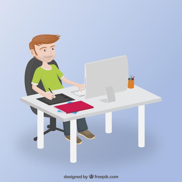 graphic designer working on kis computer vector premium download. Black Bedroom Furniture Sets. Home Design Ideas
