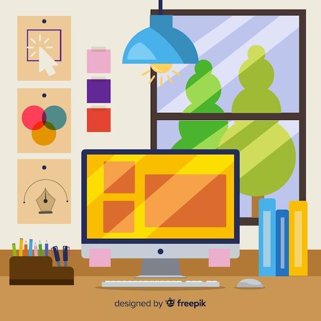 Graphic designer workplace illustration Free Vector