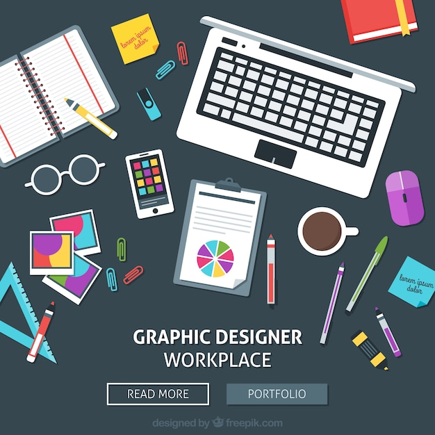 Graphic designer workplace web Free Vector