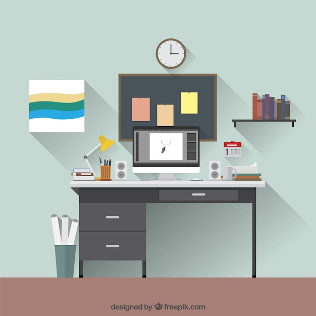 Graphic Designer Workplace Vector Free Download