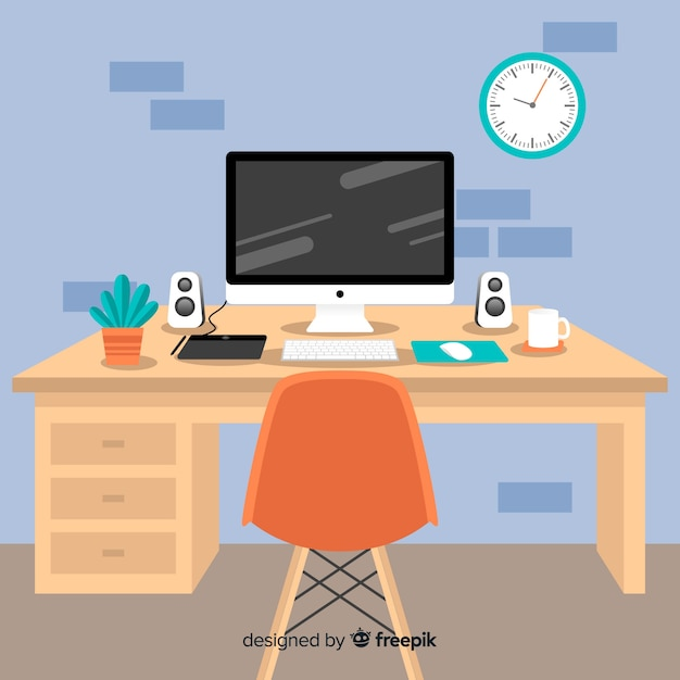 Графический дизайнер на рабочем месте Бесплатные векторы