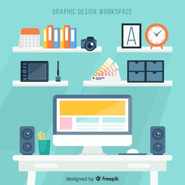 Graphic designer workspace background Free Vector