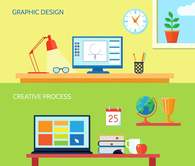 Graphic designer workspace horizontal banner set with creative process interior elements isolated vector illustration Free Vector