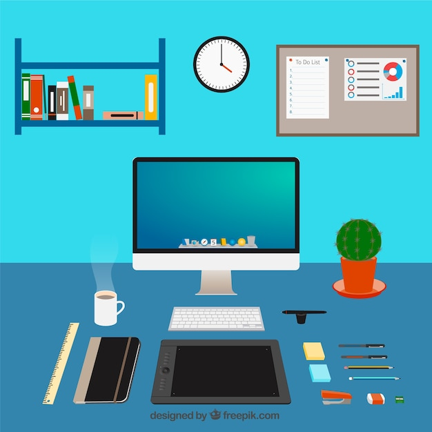 Graphic Designer Workspace Vector Free Download