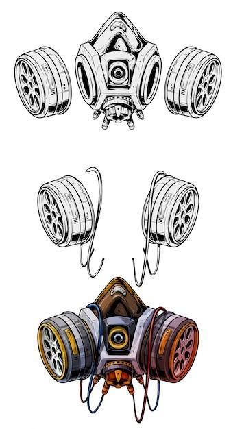 Graphic detailed protective gas mask respirator Premium Vector
