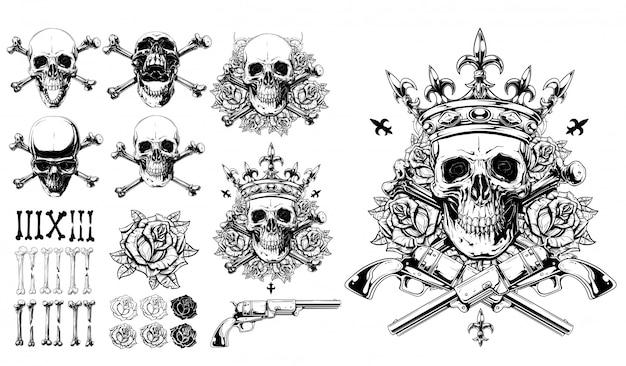 グラフィック詳細な頭蓋骨骨バラと銃セット Premiumベクター