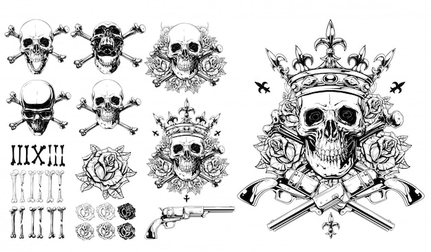 Graphic detailed skulls bones roses and gun set Premium Vector