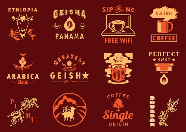 Graphic element for coffee cafe Premium Vector