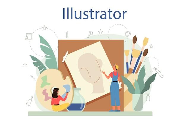 グラフィック、イラストレーターのコンセプト。本や雑誌の絵を描くアーティスト、ウェブサイトや広告のデジタルイラスト。クリエイティブな職業。 Premiumベクター