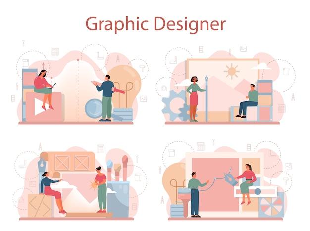 그래픽 어 또는 디지털 일러스트 레이터 개념 설정. 장치 화면의 그림. 전자 도구 및 장비로 디지털 드로잉. 창의성 개념. 프리미엄 벡터