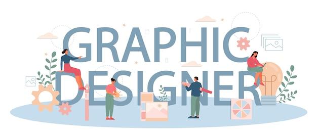 그래픽 어 또는 디지털 일러스트 레이터 인쇄용 헤더 개념. 장치 화면의 그림. 전자 도구 및 장비로 디지털 드로잉. 창의성 개념. 프리미엄 벡터