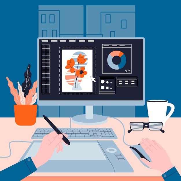 コンピューターで作業しているグラフィックer。デバイス画面の画像。デジタルイラスト。創造性の概念。図 Premiumベクター