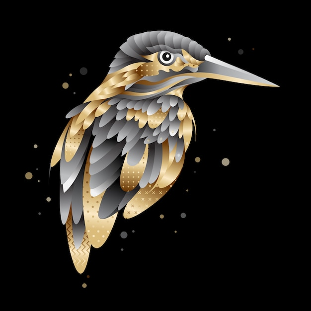 Graphic golden kingfisher bird illustration Premium Vector