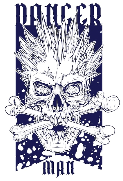 Graphic human skull with ice spikes Premium Vector