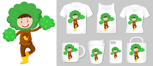 Graphic of kid in tree costume on different product templates Free Vector