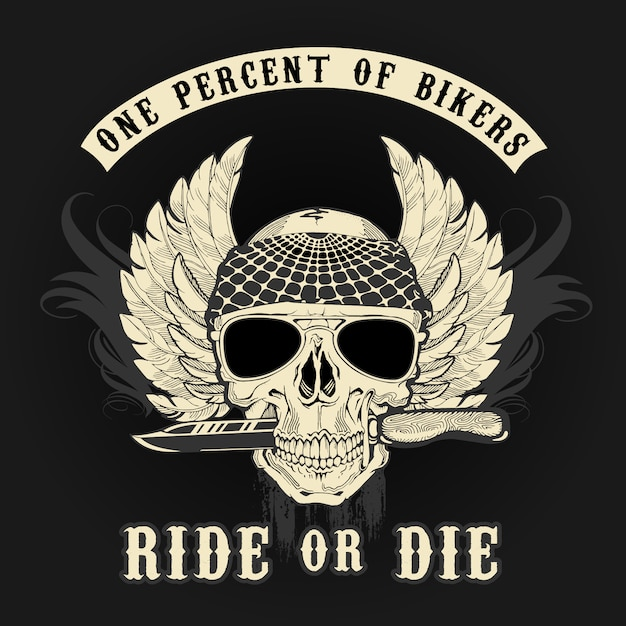 Graphic logo biker skull with knife colors Premium Vector