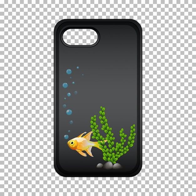 Graphic mobile phone case with goldfish and seaweed Free Vector