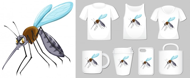 Graphic of mosquito on different product templates Free Vector