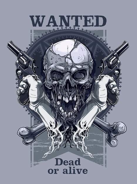 Graphic realistic skull with hand holding revolver Premium Vector