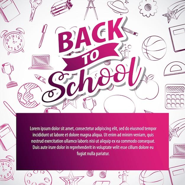 Risorse grafiche relative al ritorno a scuola. illustrazione Vettore gratuito