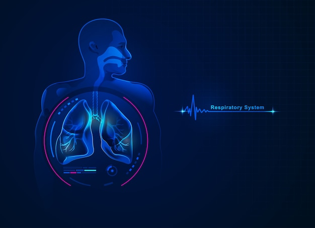 Graphic of respiratory system with futuristic element Premium Vector