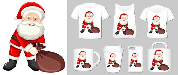 Graphic of santa on different product templates Free Vector