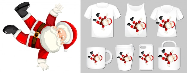 Graphic of santa on different types of product template Free Vector