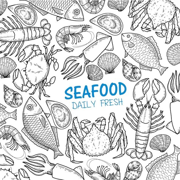 Graphic seafood Premium Vector