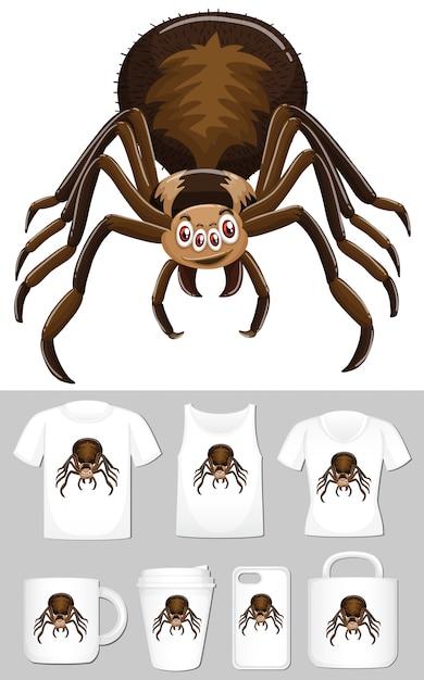 Grafica del ragno su diversi modelli di prodotto Vettore gratuito
