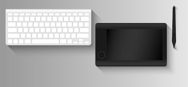 Графический планшет и клавиатура для графического дизайнера Premium векторы