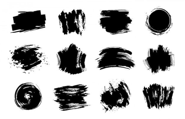 Элементы графической текстуры. гранж инсульта, художественные текстуры мазки, набор элементов грязные линии. различные черные образцы на белом фоне. грязные пятна и пятна Premium векторы