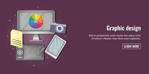 Graphic tools banner horizontal man, cartoon style Premium Vector