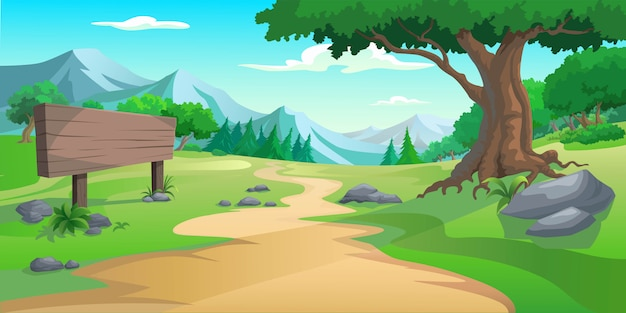 Graphic tree and hill Premium Vector