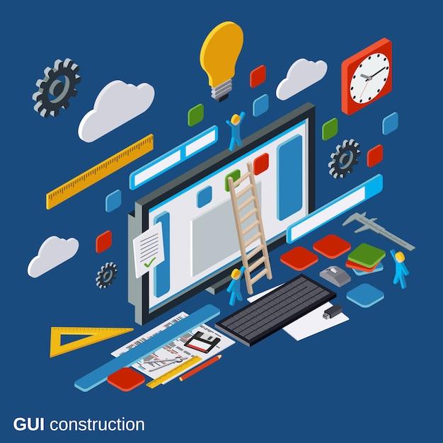 Graphic user interface construction Premium Vector