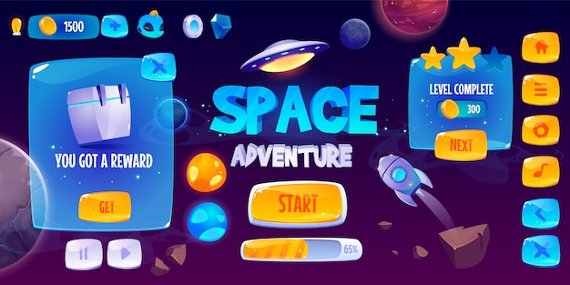 Graphic user interface for space adventure game Free Vector