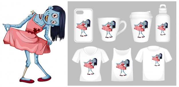 Graphic of zombie in pink dress on different product templates Free Vector