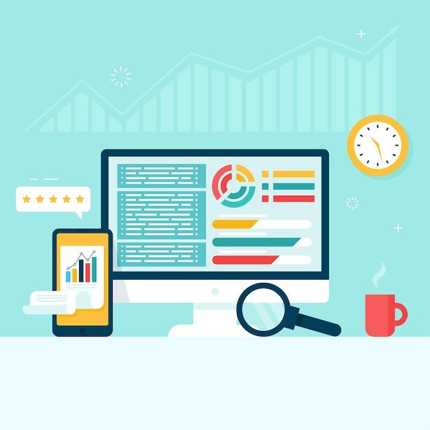 モニターと電話画面のグラフとチャート。会計、財務報告の概念。 Premiumベクター