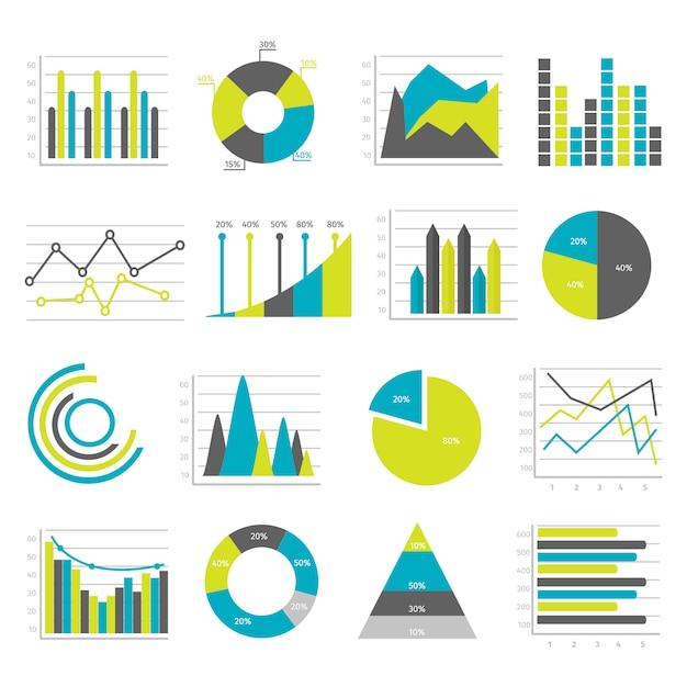 Graphs flat elementss set Free Vector