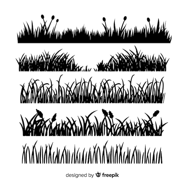 Grass border silhouette collection isolated Free Vector