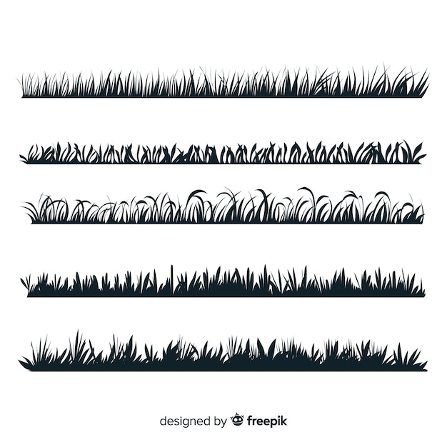 Grass border silhouette collection isolated Premium Vector