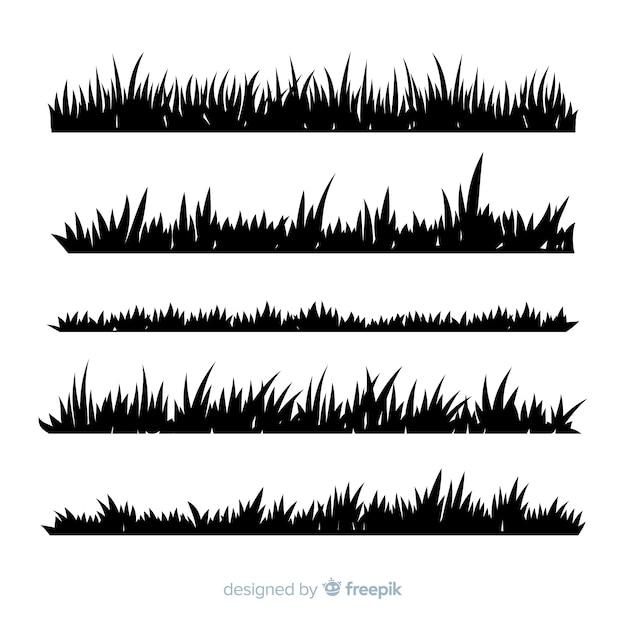 Grass border silhouette realistic design Free Vector