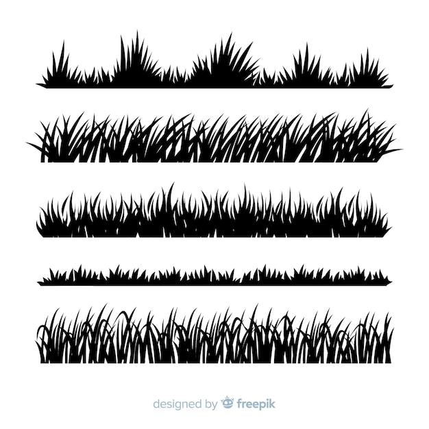 Трава бордюрный силуэт реалистичный дизайн Бесплатные векторы