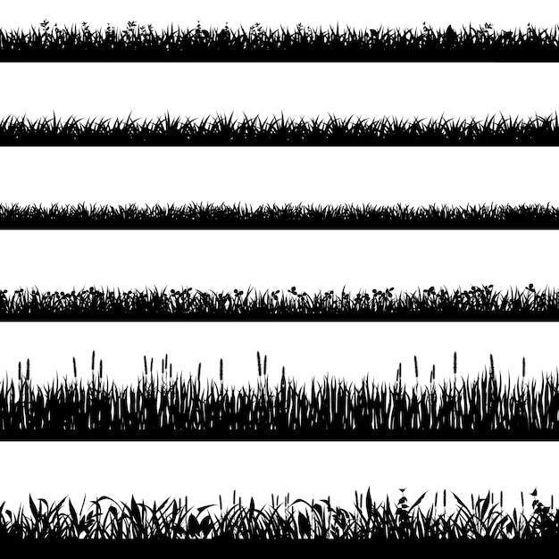 Grass border silhouettes. black grass silhouettes, natural environment herb borders, grass panorama. landscape lawn elements  symbols set. illustration grass border, plant summer line Premium Vector